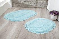 "Набор ковриков для ванной ""MODALIN"" кружевной LOKAL 60x100 + 50x70 см 1/2, цвет бирюзовый, 50x70, 60x100 - Bilge Tekstil"