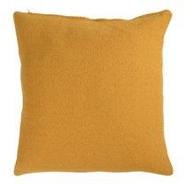 Подушка декоративная из хлопка фактурного плетения цвета шафрана из коллекции Essential, 45х45 см - Tkano