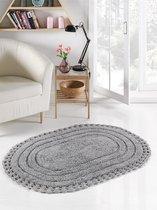 """Коврик для ванной """"MODALIN"""" кружевной YANA 80x120 см 1/1, цвет серый - Bilge Tekstil"""