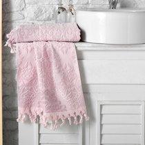 """Полотенце махровое """"KARNA"""" жаккард с бахромой OTTOMAN 50x90 1/1, цвет розовый, 50x90 - Bilge Tekstil"""