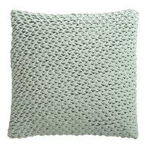 Подушка декоративная стеганая из хлопкового бархата мятного цвета из коллекции Essential, 45х45 см - Tkano