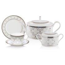 Сервиз чайный Noritake Трефолио, платиновый кант на 6 персон 20 предметов, фарфор - Noritake