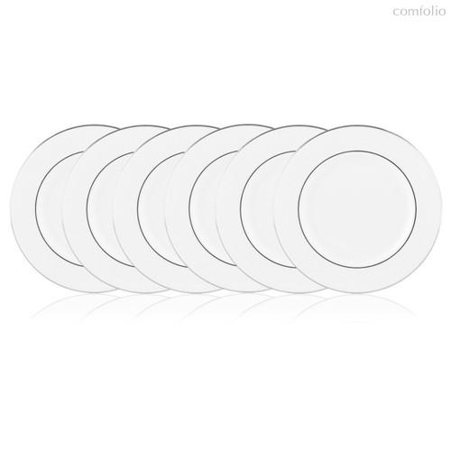 Набор тарелок закусочных Lenox Ханна,платиновый кант 21см, фарфор, 6шт - Lenox