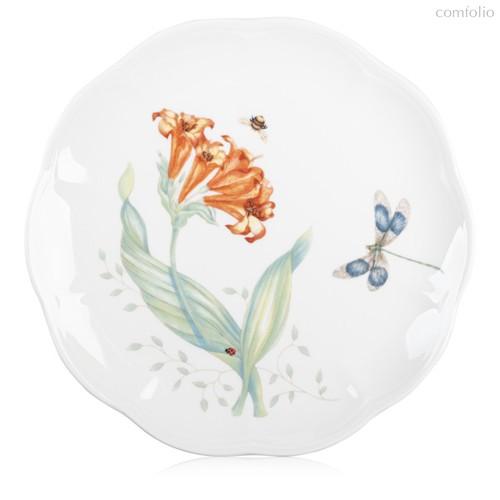 """Тарелка акцентная Lenox """"Бабочки на лугу.Стрекоза"""" 23см, цвет оранжевый, 23 см - Lenox"""