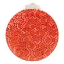 """Тарелка закусочная Bordallo Pinheiro """"Новогодние шары. Северный олень"""" 24,5см, красная - Bordallo Pinheiro"""