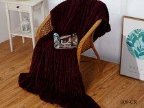"""Плед Cleo """"CARRE"""" велсофт полуторный 150*200 150/009-CR, цвет сливовый, 150 x 200 - Cleo"""