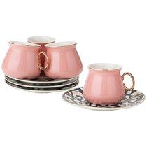Кофейный Набор На 4Пер. 8 пр. 90 мл , Розовый, цвет розовый - Rongshengyuan