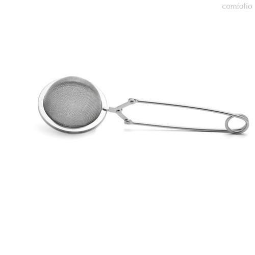 Ситечко для чая Weis на одну ложку с нажимной ручкой, сталь нержавеющая - Weis