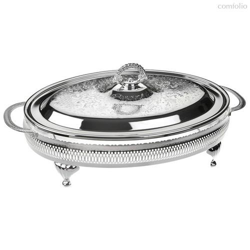 Блюдо овальное с крышкой Queen Anne 41х26см, на ножках, сталь, посеребрение - Queen Anne