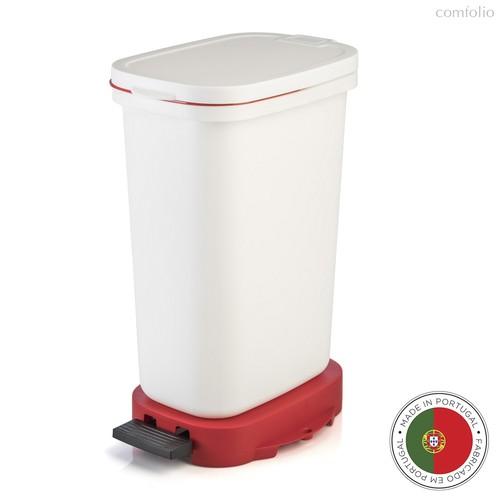Мусорный бак с педалью BE-ECO 20л, белый-красный, цвет белый/красный - Faplana