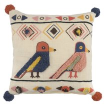Чехол на подушку в этническом стиле с помпонами и вышивкой Птицы из коллекции Ethnic, 45х45 см, 45x45 - Tkano