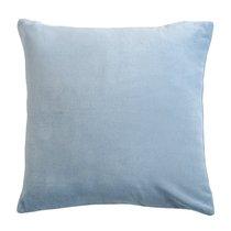 Подушка декоративная из хлопкового бархата светло-синего цвета из коллекции Essential, 45х45 см - Tkano