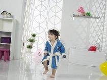 """Халат детский с велюром """"KARNA"""" с капюшоном SNOP (4-5 Лет), цвет синий - Bilge Tekstil"""