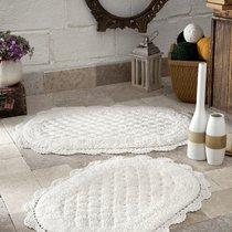 """Набор ковриков для ванной """"MODALIN"""" кружевной MERIT 50x80 + 45x60 см 1/2, цвет кремовый, 45x60, 50x80 - Bilge Tekstil"""