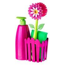 дозатор, Щетка для посуды, губка на подставке FLOWER POWER, цвет розовый - Vigar