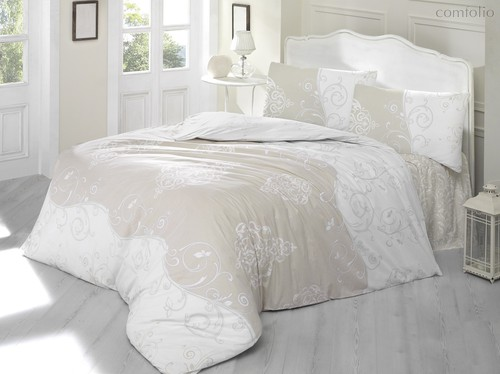 Постельное белье Ranforce Melina, цвет бежевый, размер Евро - Altinbasak Tekstil
