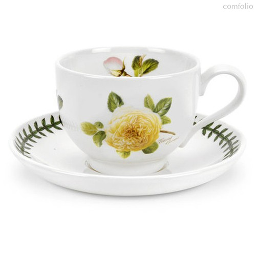 """Чашка чайная с блюдцем Portmeirion """"Ботанический сад. Розы. Джорджия, желтая роза"""" 200мл - Portmeirion"""