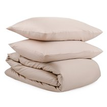 Комплект постельного белья двуспальный из сатина бежевого цвета из коллекции Essential - Tkano