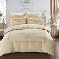 Постельное белье Karna Revena 300.TC, сатин с вышивкой, цвет бежевый, Евро - Bilge Tekstil