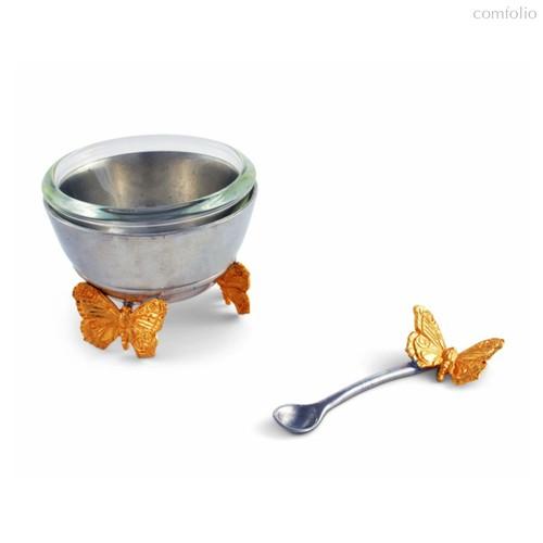 Солонка с ложкой Vagabond House Садовые друзья. Золотые бабочки 6см, стекло - Vagabond House