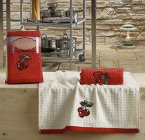 "Кухонные полотенца махровые ""KARNA"" LEMON 45x65 1/2 Красный - Bilge Tekstil"