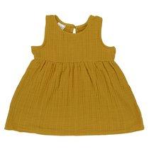 Платье без рукава из хлопкового муслина горчичного цвета из коллекции Essential 24-36M - Tkano