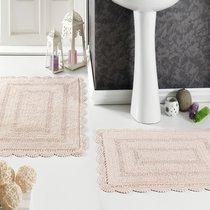 Набор кружевных ковриков Evora, цвет персиковый, размеры 50x70, 60x100 - Modalin