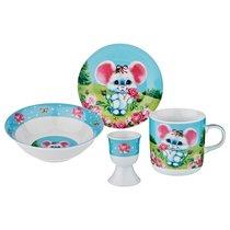 Наборы Посуды на 1 Персону 4Пр.:Миска,Тарелка,Кружка ,Подставка Под Яйцо - Jinding