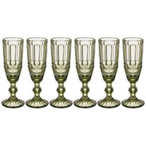 Бокалы для шампанского Серпентина 6 шт. 150мл Серия Muza Color Высота 20 см, цвет зеленый - Honkong Maple