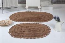 """Набор ковриков для ванной """"MODALIN"""" кружевной YANA 60x100 + 50x70 см 1/2, цвет горчичный, 50x70, 60x100 - Bilge Tekstil"""