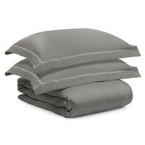 Комплект постельного белья без простыни из египетского хлопка Essential, серый, двуспальный, 2-спальный - Tkano
