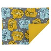 Cалфетка двухсторонняя под приборы из хлопка серого цвета с принтом Цветы из коллекции Prairie, 35х45 см - Tkano