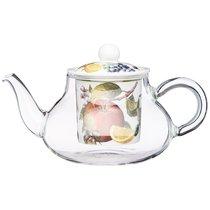Чайник Стеклянный с Фарфоровым Ситом Lefard Фрукты 500 мл - Meizhou Yuesenyuan