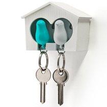 Держатель для ключей двойной Sparrow белый-голубой - Qualy