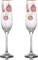 Набор бокалов для шампанского из 2 шт. КРАСНЫЕ ШАРЫ 190 мл ВЫСОТА 24 см - Crystalex