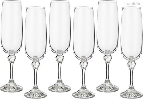 Набор бокалов для шампанского из 6 шт. ДЖУЛИЯ 180 МЛ ВЫСОТА=21 СМ (КОР=8Набор.) - Crystalex