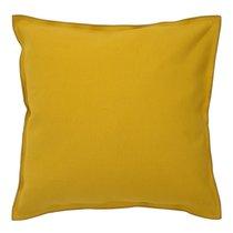 Чехол на подушку из фактурного хлопка горчичного цвета с контрастным кантом из коллекции Essential, 45х45 см, 45x45 - Tkano