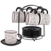 Чайный Набор На 6 Персон 12 Пр. На Подставке Коллекция Black & White 10,5x7,5x7,5 см 230 мл - Hebei Grinding Wheel Factory