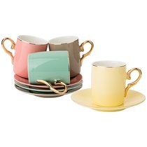 Чайный Набор На 4Пер. 8Пр. 220Мл, 4 Цвета: Серый, Желтый, Розовый, Мятный - Rongshengyuan