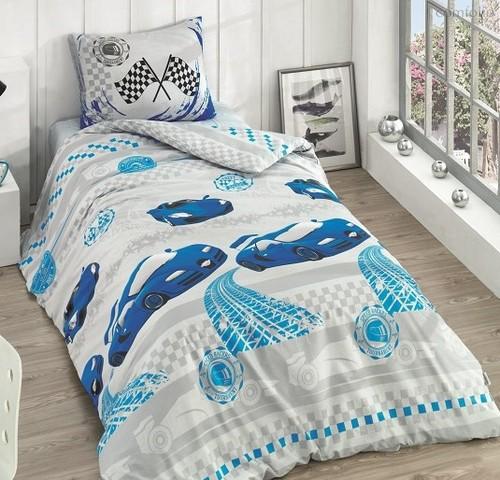 Постельное белье Ranforce Racer, подростковое, цвет голубой, 1.5-спальный - Altinbasak Tekstil