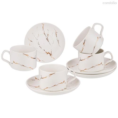 Чайный Набор На 4 Персоны Коллекция Золотой Мрамор Объем Чашки 250 мл Цвет:White - Porcelain Manufacturing Factory