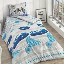 Постельное белье Ranforce Racer, подростковое, цвет голубой, 1.5-спальный - Altinbasak