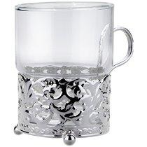 """Стакан с подстаканником Queen Anne """"Королевский"""" 7х9см, стекло, сталь, посеребрение - Queen Anne"""