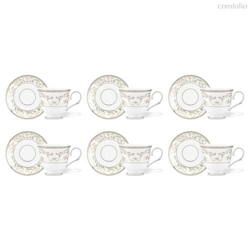Набор чашек чайных с блюдцами Lenox Чистый опал, платина 170мл, фарфор, 6шт - Lenox