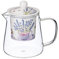 Чайник Стеклянный С Ситом Прованс Лаванда 400мл - Meizhou Yuesenyuan