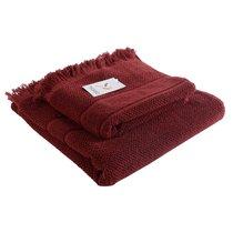 Полотенце банное с бахромой бордового цвета Essential, 70х140 см - Tkano