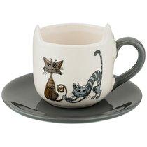 Чашка с Блюдцем Коллекция Озорные Коты 220 мл - Hongda Ceramics