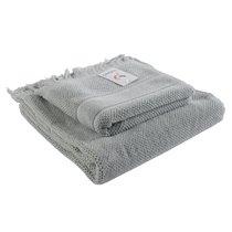Полотенце для рук декоративное с бахромой серого цвета Essential, 50х90 см - Tkano