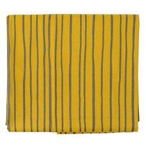 Скатерть из хлопка горчичного цвета с принтом Полоски из коллекции Prairie, 170х250 см - Tkano