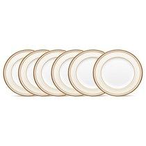 """Набор из 6 тарелок закусочных Noritake """"Трефолио,золотой кант"""" 22см - Noritake"""
